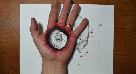 tenyérre lyukat rajzlni