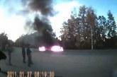 1 másodperccel az ütközés után lángokban az autó