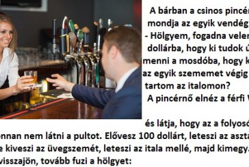 A bárban a csinos pincérnőnek mondja az egyik vendég :D