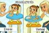 Gyereknevelés: Elvárás vs. valóság – 9 tündéri illusztrációban
