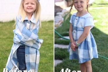Férje megunt ingjeiből készít zseniális ruhákat lányainak egy anyuka